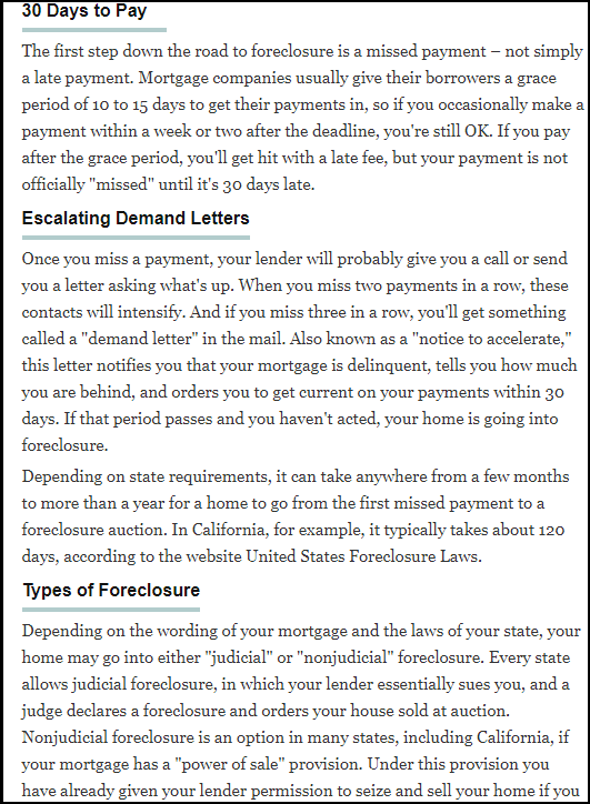 DC Fawcett Mortgage Payment and Foreclosure